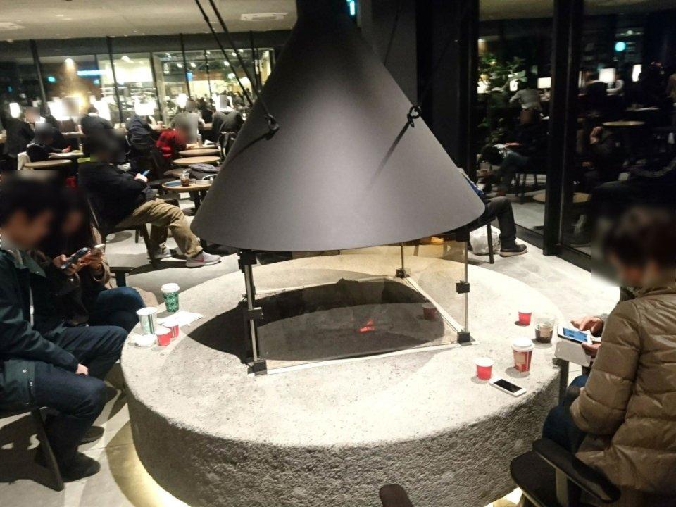スターバックスコーヒー 江別蔦屋書店 暖炉